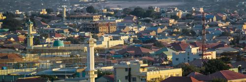 Aerial view to Hargeisa, biggest city of Somaliland, Somalia