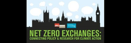 A graphic for the Net Zero Exchanges essay collection, showing a black cityscape against a blue, cloudy sky