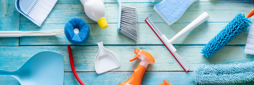 A range of household cleaning products such as pan and brush and sponges