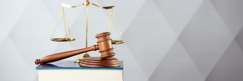 Scales, text book and gavel