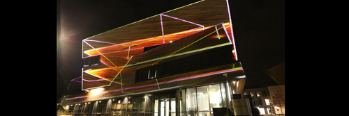 Image showing the installation Cosmic Architecture by Nina Dunn and John Del'Nero, located at the Ogden Centre for Fundamental Physics, Lumiere 2019