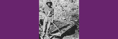 Black & white photo of african american miner 1800s