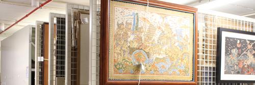 Piece of artwork on shelves in Oriental Museum