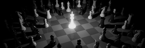 King piece glowing on a chess board