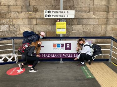 Cuth's students at the station before walking Hadrian's Wall