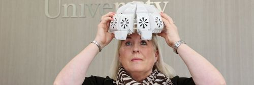 Tracy Sloan, who took part in a trial study to test the effectiveness of the infrared light therapy helmet she is wearing.