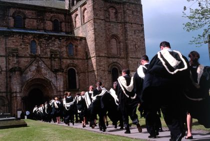 Student congregation ceremony with Durham Cathedral in background