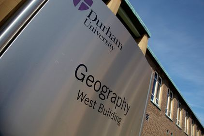 Department of Geography sign outside the West Building