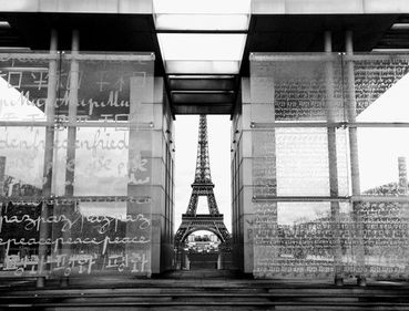 A view of the Eiffel Tower through etched glass