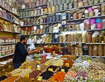 A spice market with a shop keeper