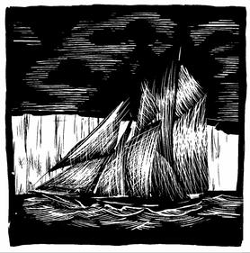 A black and white illustration of a ship by John Barnett