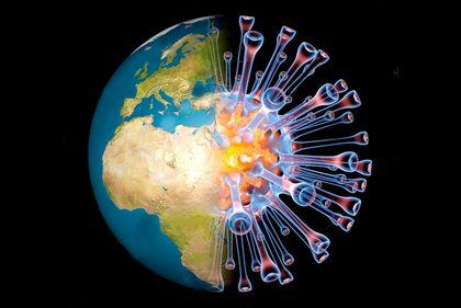 Image manipulation of the coronavirus inside the globe
