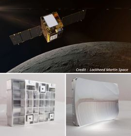 Montage of three pictures: Main image is of a mock-up of the lunar trailblazer in orbit above the moon, and 2 images of a mirror prototype (front and back) made in 2020 for the Atmospheric Physics group at Oxford. A complete prototype was assembled and tested and this led to the successful proposal of this design for the Lunar Traiblazer.