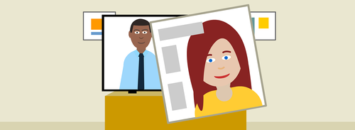 Cartoon of two people appearing on screens