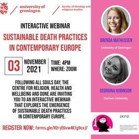 Sustainable Death Practices Webinar with Brenda Mathijssen and Georgina Robinson, 3rd Nov 2021