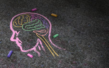 Chalk drawing of a head and brain