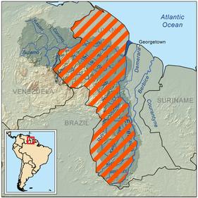Guyana Venezuela Essequibo Border Dispute Map
