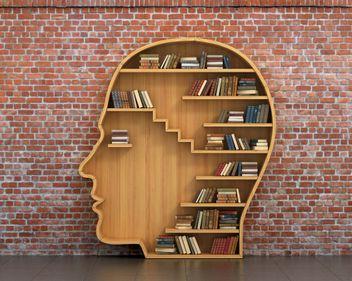 Book case shaped like a head