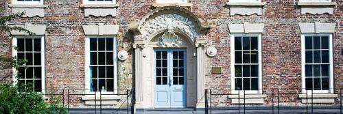 External shot of the front door leading into the institute of advanced study
