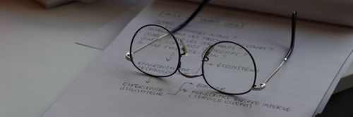 some handwritten notes with a pair of glasses on them