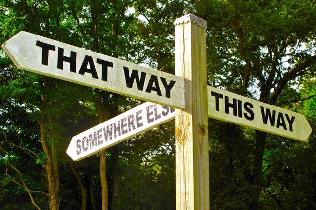 A sign pointing in different directions
