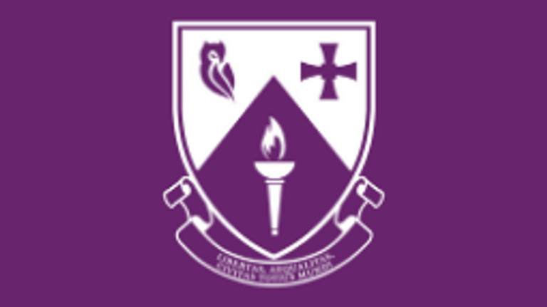 The College shield in white on a purple background
