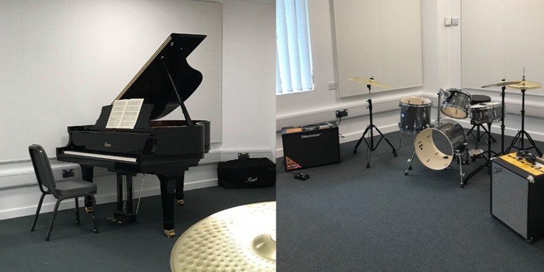 Piano and drum kit set up in practice room