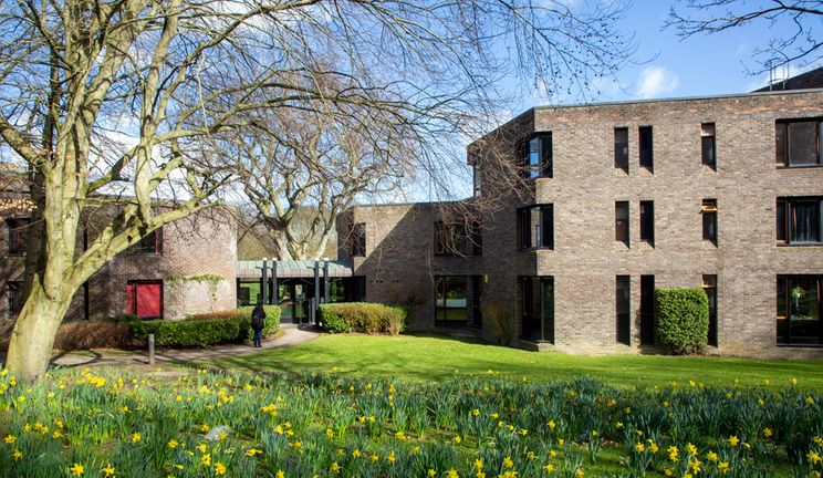 Trevelyan College exterior on a sunny spring day