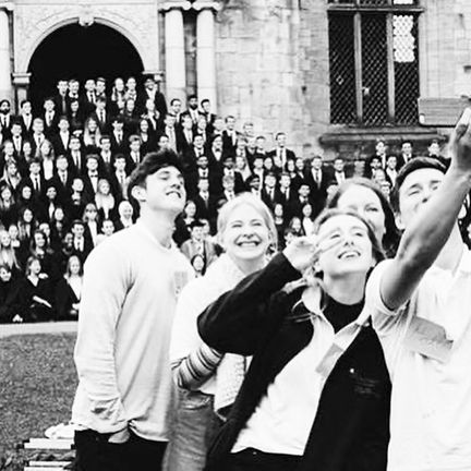 A black and white picture of University Castle students