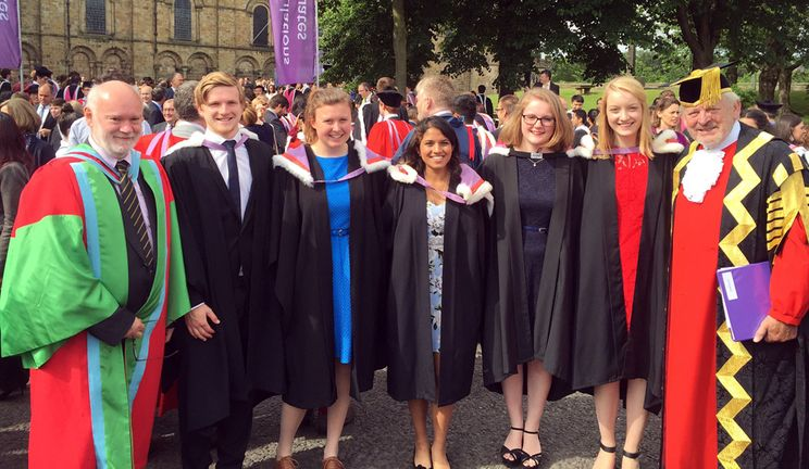 Celebrating graduation with The Principal and University Chancellor at Durham Cathedral