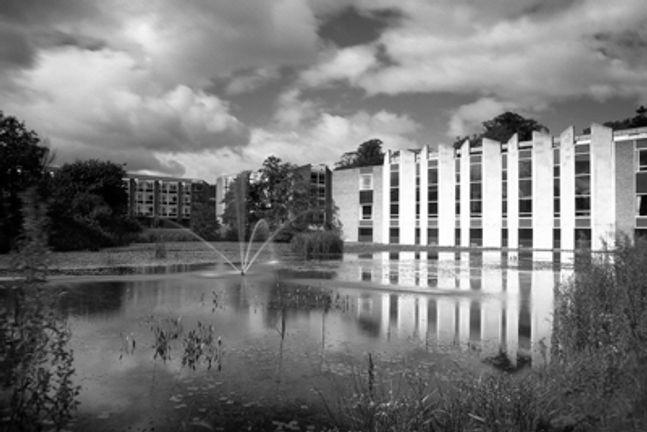 Van Mildert college overlooking the lake on the the college grounds
