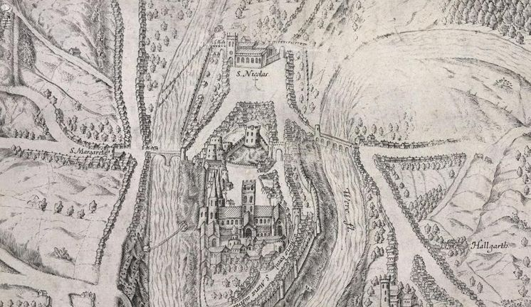 an old map of Durham City from 1595
