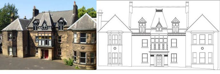 a photograph of a manor house next to a line drawing of the front elevation of the same manor house