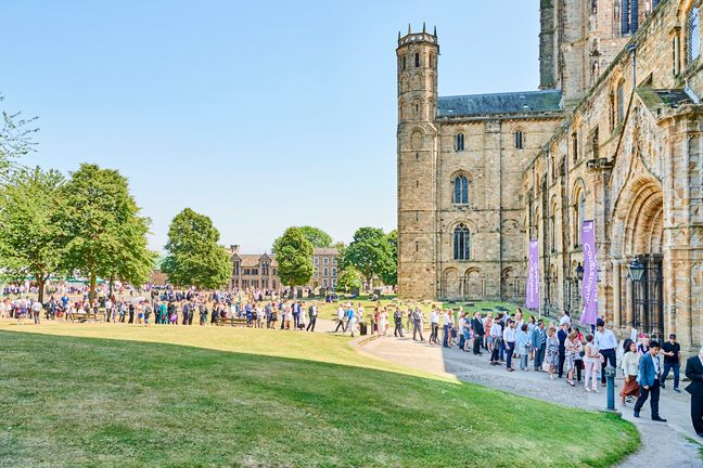 Queue outside Cathedral for graduation