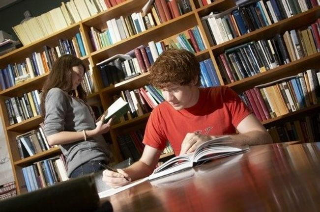 Two students reading in the library