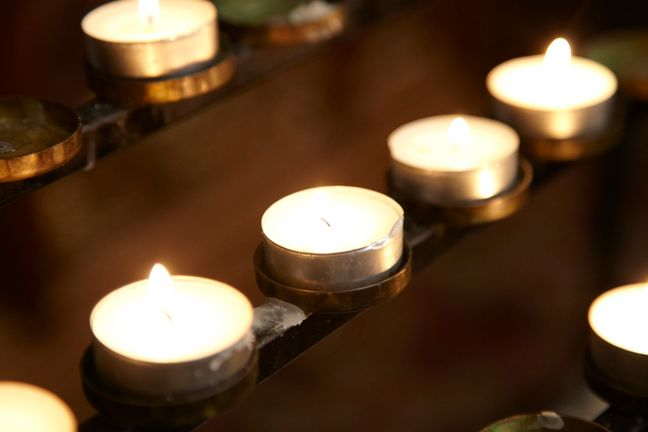 Votive candles (prayer candles) close-up