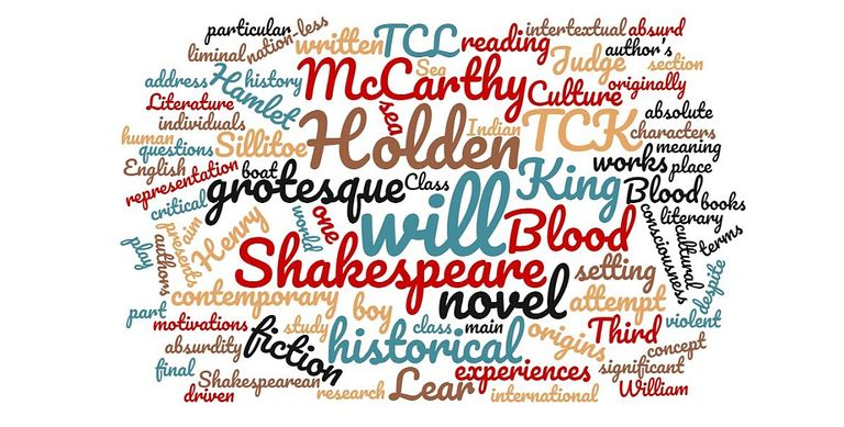 A word cloud of literary terms