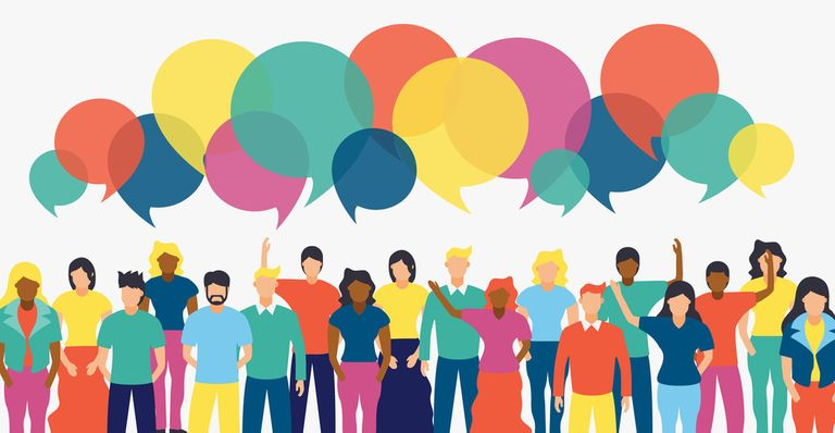 Illustrated group of people with colourful chat bubbles and diverse team
