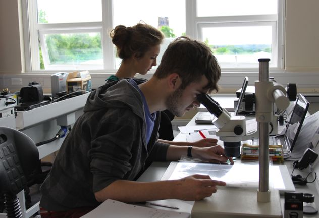Students in labs peering into microscope