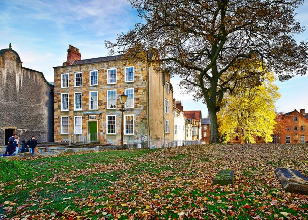 Autumn leaves outside Abbey House in Durham