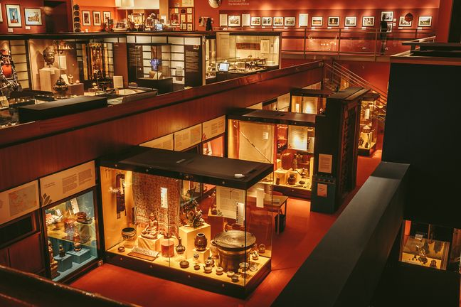 Showcases, art and museum displays at the Oriental Museum over three levels