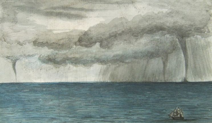 Ship in a storm painting