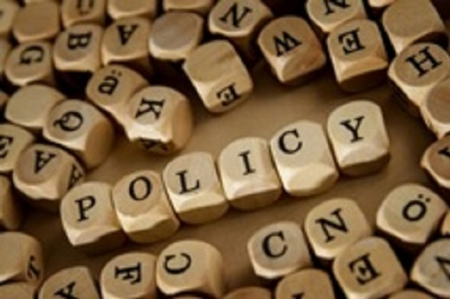 Policy written in lettered cubes