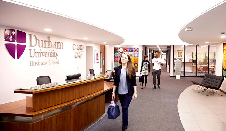 The busy Business School reception area