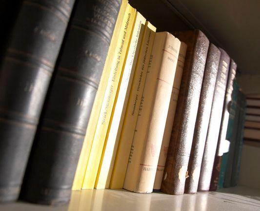 Theology books on a shelf