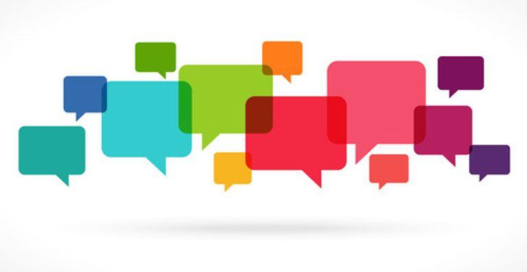 A mix of coloured speech bubbles