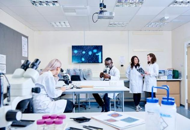 Student group in Geography laboratory using microscopes and talking