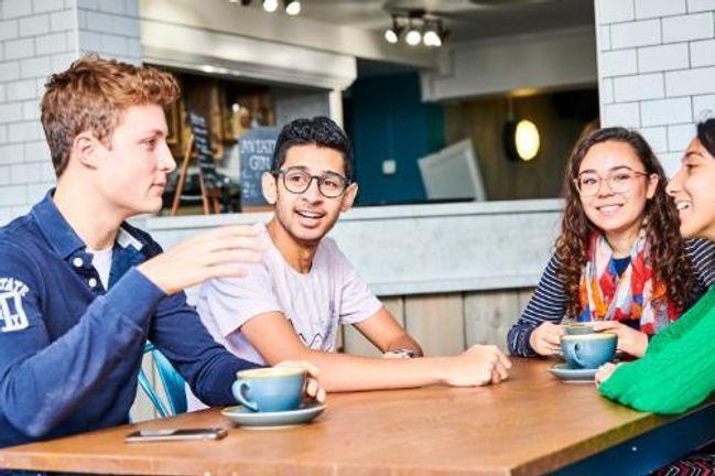 Students sitting in Kingsgate Bar