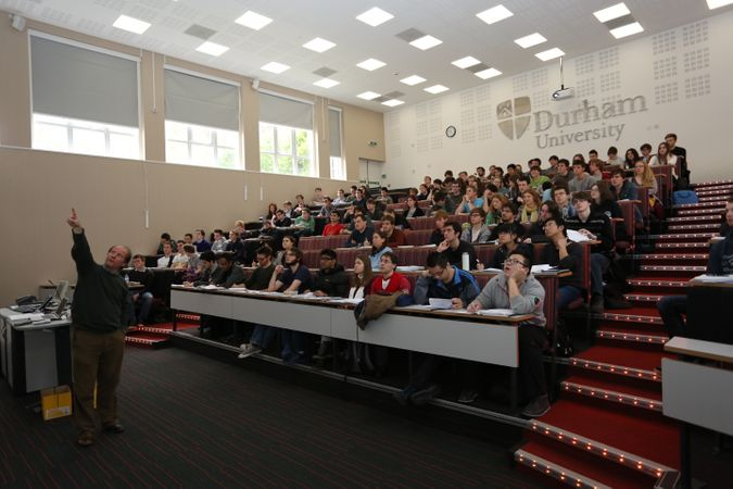 Very modern lecture theatre in the Physics Department full of students having a lecture