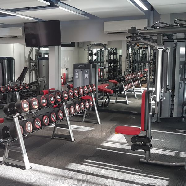 Collingwood College gym with stacked weights